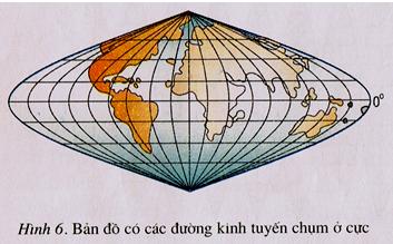 Bản đồ các đường kinh tuyến chụm ở cực