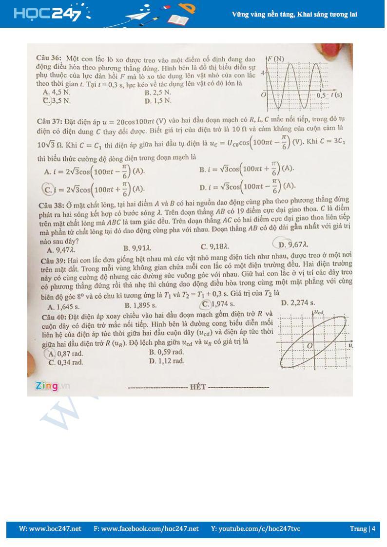 Đáp án đề thi THPT QG 2019 môn Vật lý mã đề 222