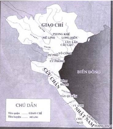 Lược đồ Âu Lạc thế kỷ I-III (Nhà Hán chia Âu Lạc thành ba quận là Giao Chỉ,Cửu Chân và Nhật Nam)