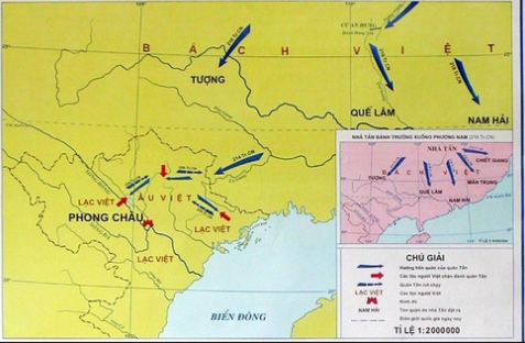 Lược đồ kháng chiến chống xâm lược Tần năm 214-209 TCN