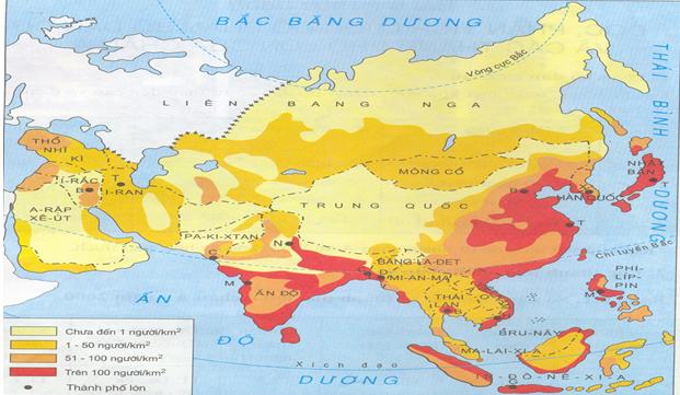 Lược đồ mật độ dân số và các thành phố lớn của khu vực Đông Nam Á