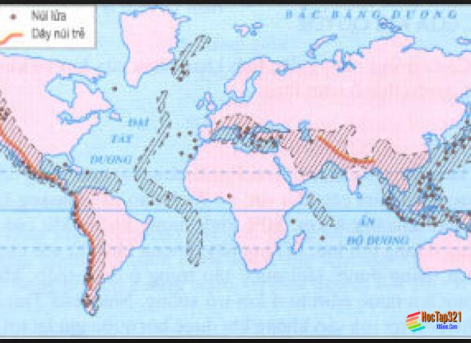Hình 10. Các vành đai động đất, núi lửa và các vùng núi trẻ