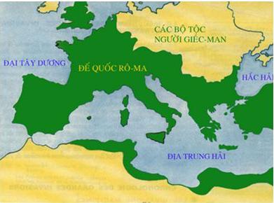Bản đồTây Âu từ thế kỷ I đến V
