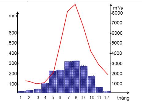 Biểu đồ thể hiện lưu lượng, lượng mưa sông Hồng