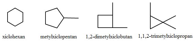Một số xicloankan đồng phân C6H12