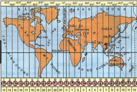 Hình 20. Các khu vực giờ trên Trái Đất