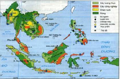 Lược đồ phân bố công nghiệp ở các nước Đông Nam Á