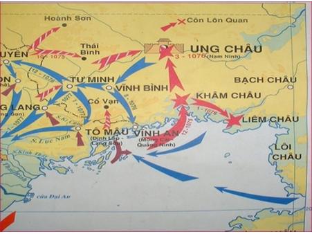 Lược đồ đường tiến công của quân Tống (Mũi tên màu xanh)