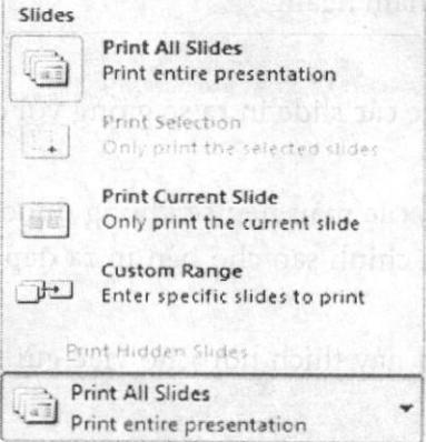 Chọn các slide sẽ in