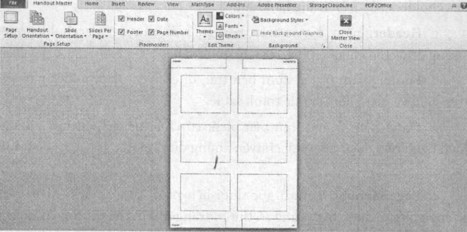 Cửa sổ Handout Master