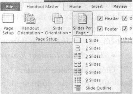 Chọn số slide trên mỗi trang handout
