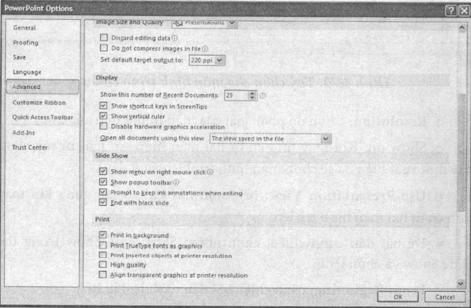 Cửa sổ PowerPoint Option