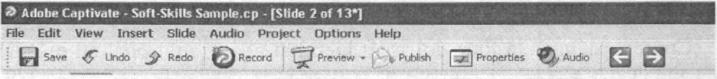 Thanh thực đơn và các thanh công cụ chính của Macromedia Captivate
