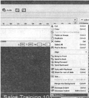 Thanh thực đơn ngữ cảnh và giao diện khi chọn lệnh Properties của đối tượng văn bản động (Text Animation) (a)