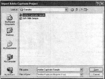 Hộp thoại mở dự án có các trang thêm vào dự án
