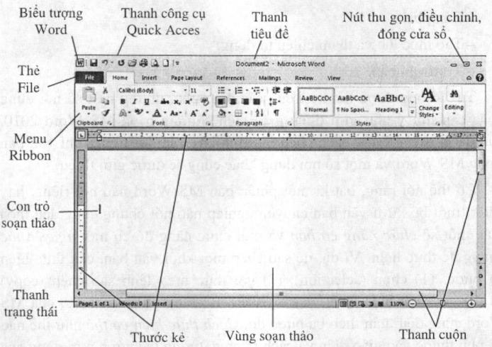 Màn hình làm việc của Word 2010