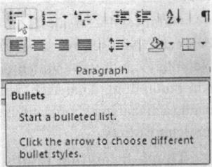 Enhanced Screen Tip mô tả hiểu tượng đánh dấu đầu dòng (Bullets)