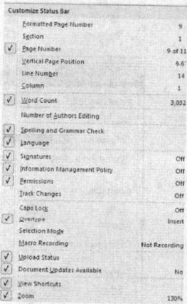 Danh sách các lựa chọn trên thanh trạng thái