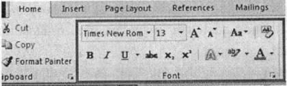 Nhóm lệnh Font trong thẻ Home trên thanh Ribbon