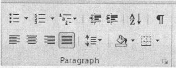 Nhóm lệnh Paragraph trong thẻ Home trên thanh Ribbon