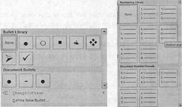 Ví dụ định dạng kiểu Bullets và Numbering.