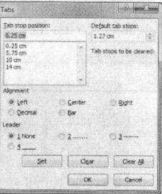 Hộp thoại Tab hiển thị bốn loại Tab trong đoạn văn bản