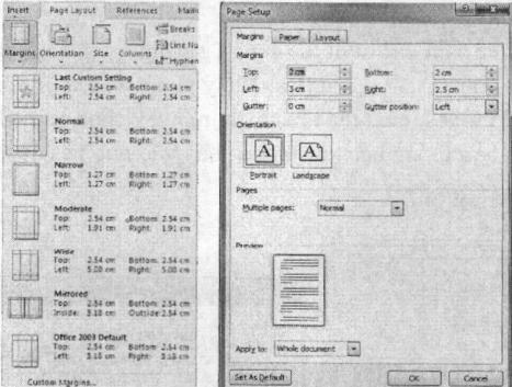 Danh sách các mẫu căn lề sẵn có và hộp thoại Page Setup
