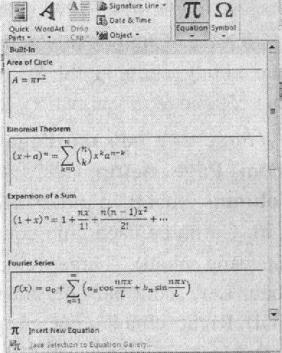 Bảng chọn chèn công thức toán