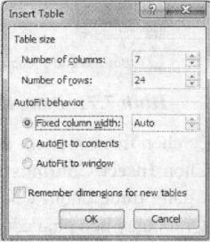 Hộp thoại Insert Table
