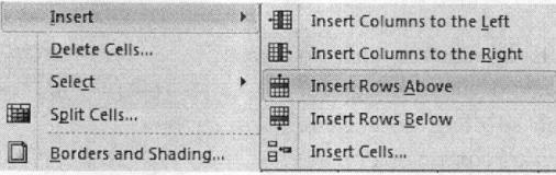 Bảng chọn chứa lệnh chèn thêm dòng
