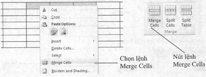 Chọn lệnh Merge Cells theo hai cách khác nhau