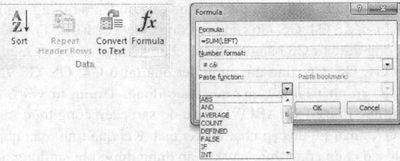 Nút lệnh Formula và hộp thoại Formula