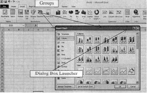 Nút Dialog Box Launcher mở hộp thoại Insert Chart trong Groups Charts của tab Inser