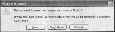 Thoát khỏi Excel khi chưa lưu bảng tính