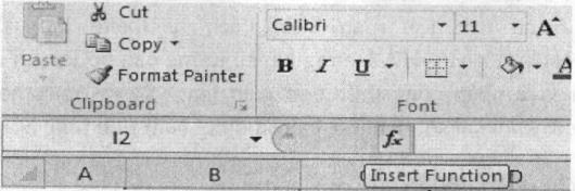 Nhập hàm bằng nút chèn hàm Insert function
