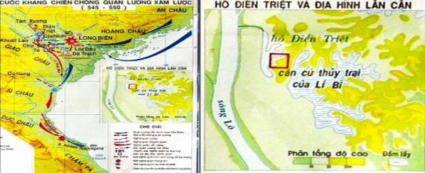 Lược đồ cuộc kháng chiến chống quân Lương xâm lược 545-550 và Hồ Điển Triệt