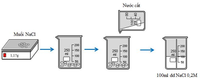 Quá trình pha chế 100ml dung dịch NaCl 0,2M