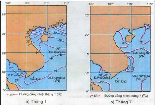 Hình 24.2. Lược đồ phân bố nhiệt độ nước biển tầng mặt
