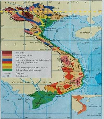 Hình 28.1 Lược đồ địa hình Việt Nam