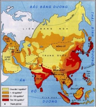 Hình 6.1. Lược đồ mật độ dân số và những thành phố lớn châu Á
