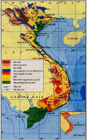 Hình 28.1. Lược đồ địa hình Việt Nam