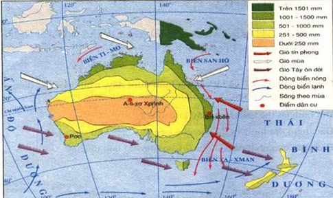 Hình 50.2. Lược đồ hướng gió và phân bố lượng mưa ở lục địa Ôxtraylia và các đâỏ lân cận