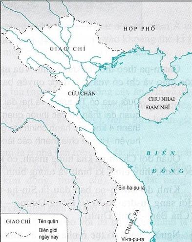 Lược đồ Giao Châu và Cham pa giữa thế kỷ VI đến X