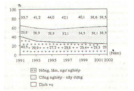 Biểu đồ thể hiện cơ cấu GDP thời kì 1991-2002
