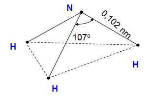 Sơ đồ cấu tạo của phân tử NH3