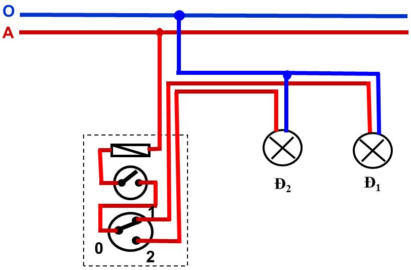 Hình 2. Sơ đồ lắp đặt mạch điện một công tắc ba cực điều khiển hai đèn