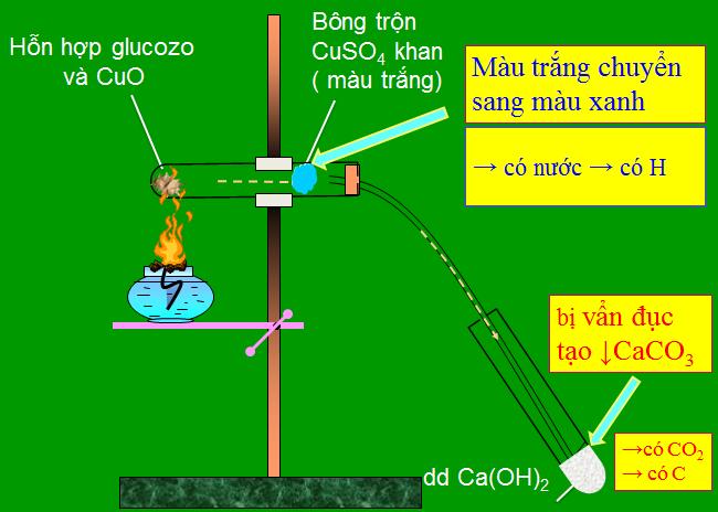 Thí nghiệm xác định nguyên tố Cacbon, Hidro có trong Glucozơ
