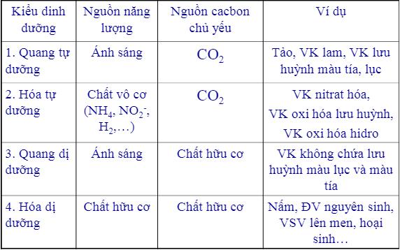 Các kiểu dinh dưỡng của vi sinh vật