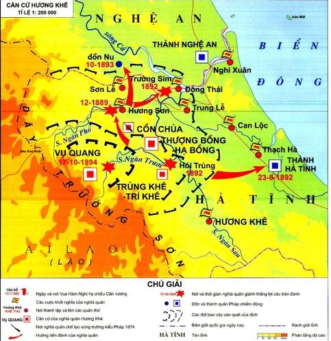 Lược đồ  địa bàn hoạt động của nghĩa quân Hương Khê