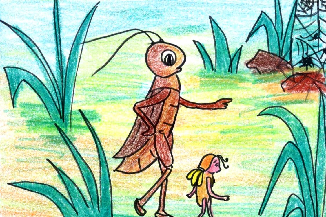 Dế Mèn phẫn nộ cùng Nhà Trò đi đến chỗ mai phục của bọn nhện
